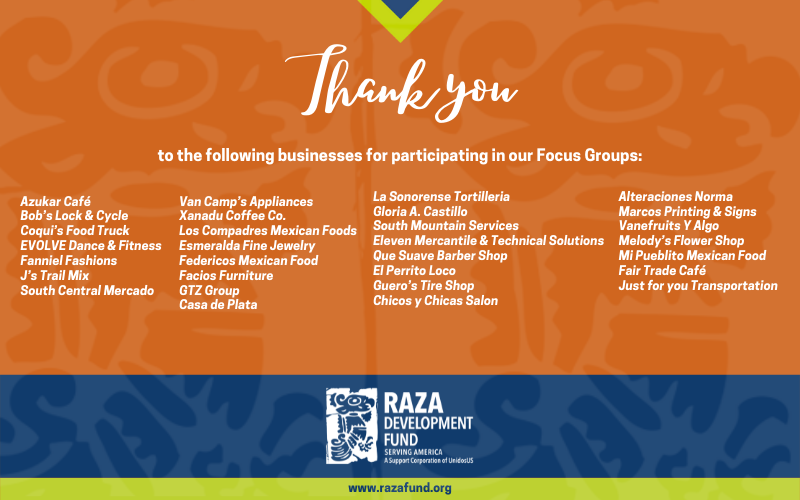 Thank You to Focus Group Business Owners