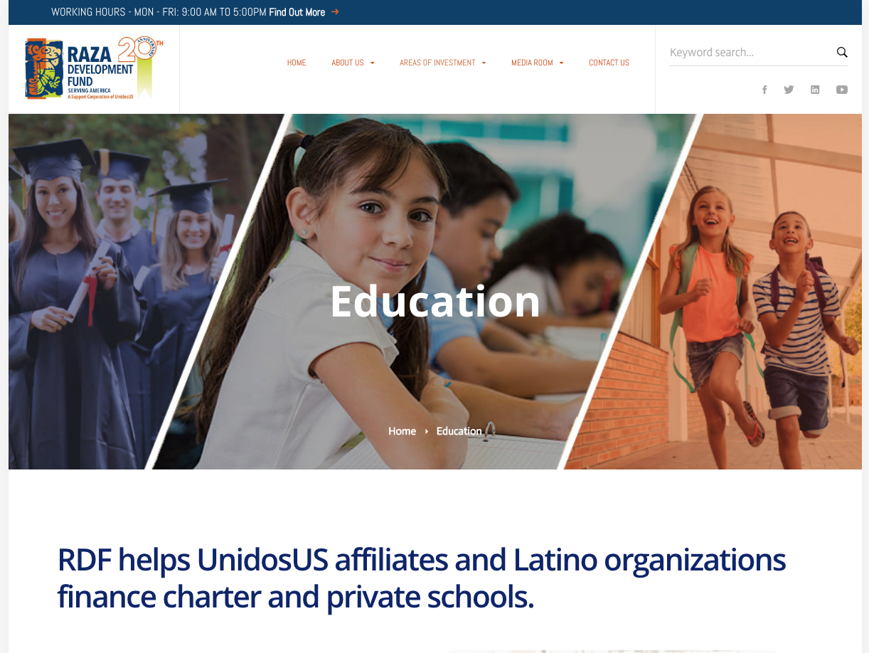 RDF helps UnidosUS affiliates and Latino organizations finance charter and private schools.